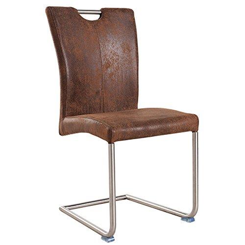 Freischwinger Stuhl BUFFALO Vintage coffee braun mit Edelstahl Gestell Freischwingerstuhl Esszimmer (Braun Hohe Rückenlehne Esszimmer Stuhl)