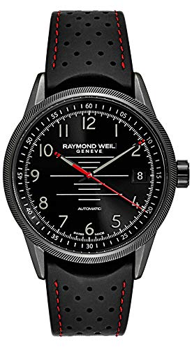 Raymond Weil Freelancer Black PVD Stainless Steel Automatic Rubber Strap Men's Sports Watch Date 2754-BKR-05200