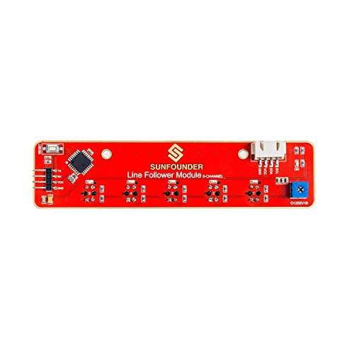 SUNFOUNDER Line Tracking Sensor Infrared IR Detection I2C 5-Channel Line Follower Module for Raspberry Pi Arduino Smart Car Robot Robotics MCU ATMEGA328P TCRT5000 (MEHRWEG) Detection-modul