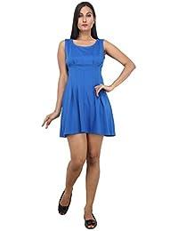LondonHouze Plain Blue Skater Dress