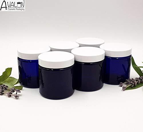 Avalon Salbendosen/Dosen für Kosmetik, mit 38 mm weißem Urea-Schraubdeckel, Blau, 6 Stück