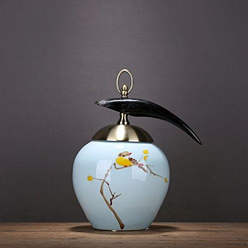 XOYOYO Meubles Classiques Chinois Hand-Painted Pot En Céramique Motif Floral Art Déco Réservoir De Stockage De L'Avertisseur Sonore,Ornements 4452 Oy Trompette