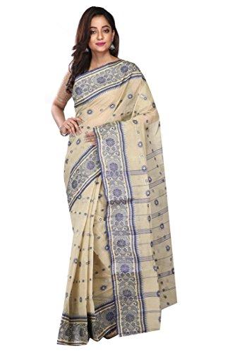Badal Textile Handloom Cotton Tant Saree, Traditional Bengali Wear (Cream)