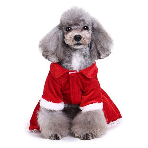 FOReverweihuajz Halloween-Kostüm für Hunde und Welpen, Weihnachtsmann-Kostüm, Rock, Kleid, warm, weich (Gute Kostüm Für Mütter)