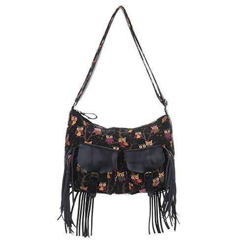 Damen Tasche, Mittelgroße Umhängetasche Mit Fransen, Textil, TA-18215 Schwarz Multi
