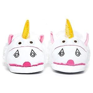 Katara 1767-Unicornio Unicorn Peluche-Zapatos de Pantuflas-Divertido Puschen Slipper Talla Única 36-44, Color Blanco/Rosa/Multicolor