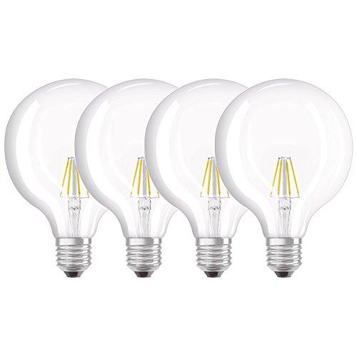 Osram LED Star Classic Globe Lampe, in Ballform mit E27-Sockel, nicht dimmbar, Ersetzt 40 Watt, Filamentstil Klar, Warmweiß - 2700 Kelvin, 4er-Pack - 40w Klar Globe