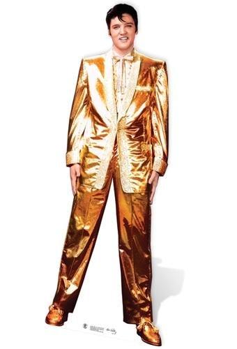 Lebensgroßer Pappaufsteller) Elvis Presley Gold Anzug ()