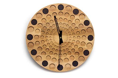 Wanduhr aus Holz und Leder | Ø30cm | Uhr Holzuhr | Gute Qualität aus Deutschland (Variante 2)