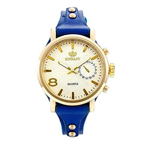 Fulltime Mode Casual femmes en cuir de quartz montre-bracelet analogique nouvelle (Bleu)