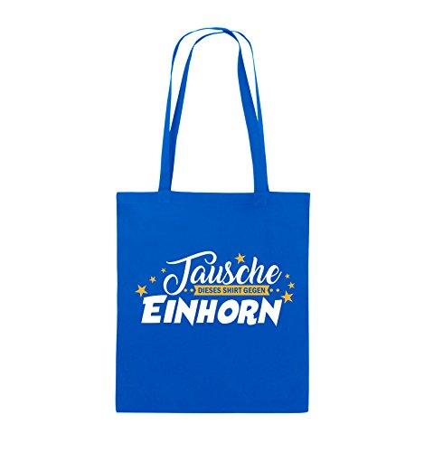 Comedy Bags - Tausche dieses Shirt gegen Einhorn - Jutebeutel - lange Henkel - 38x42cm - Farbe: Schwarz / Weiss-Neongrün Royalblau / Weiss-Gelb