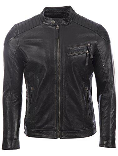 Aviatrix giacca da motociclista da uomo in vera pelle super morbida con spalle imbottite (4l93)