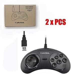 Ruitroliker Gamelink 2PCS USB Spiel Steuerpult Controller Gamepad für MegaDrive Genesis PC MAC Schwarzes