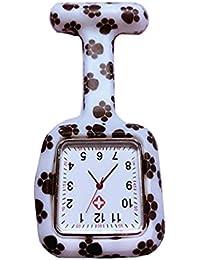 HSDDA Nurses Black Square Paw Prints Reloj Silicona Rubber Brooch Túnica Fob Relojes