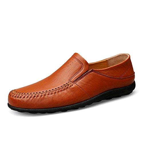 Shufang-shoes,,, 2018uomo nuovo mocassini ballerine, scarpe da camminata mocassino formale Business in vera pelle scarpe con suola morbida e leggera barca mocassini, Hollow Reddish Brown, 5.5 UK