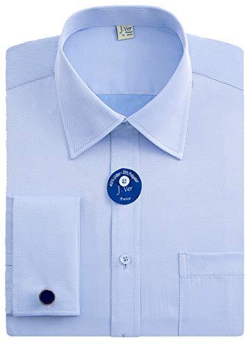 J.VER Herren Business Normale Passform Hemden Französische Manschette mit Metall-Manschettenknöpfen Lange Ärmel - Farbe:Blau, Größe:DE 37 - Ärmellänge 84 cm -
