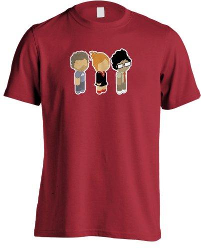 The It Crowd–Niedliche Figuren, Roy, Moss und Jen T-Shirt Gr. X-Large, Rot (Moss Rotes T-shirt)