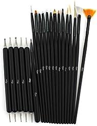 Glow Nail Art Outils réglés; 20 pinceaux et, outils de pointillage pour nail art; noir