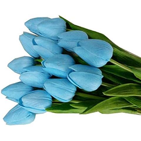 Plantas y flores artificiales Sanysis 1 x 10 pcs Artificial flor para la decoración de la boda de la fiesta en casa ramos de flores (Azul)