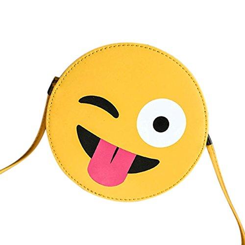 Longra Moda Donna Bambino PU Materiale superiore Carino Emoji Emoticon Borsa a tracolla Borsa bambino Giallo_D Comprar Suministro Barato sfsTAKU6Ij