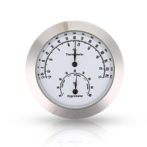 Gitarrenthermometer Hygrometer rund Digital Violine Luftfeuchtigkeit Temperatur Meter für Instrument Pflege silber