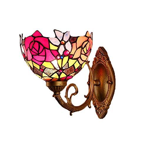 WXAN Tiffany Stil Wandleuchte Barock Mittelmeer Pastoralen Moderne Antike Lampenschirm Glasmalerei Schmiedeeisen Silber Hardware Wohnzimmer Studie Schlafzimmer Nach E27 Lichtquelle Led - Tiffany Golf