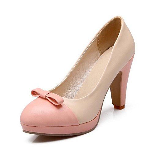 AgooLar Femme Rond Tire Pu Cuir Couleurs Mélangées à Talon Haut Chaussures Légeres Abricot