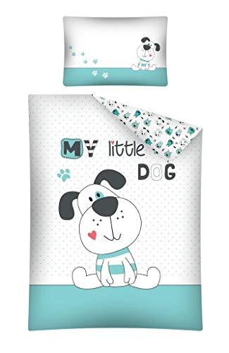 Kinderbettwäsche Bettwäsche 100x135 + 40x60 Hund Dog Babybettwäsche Turkis Blau