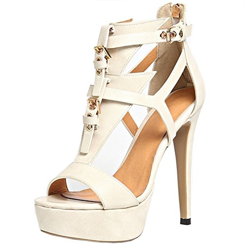 TAOFFEN Damen Mode-Event strappy Plateau Fesselriemen Party Stiletto Heel Sommer Sandalen 892 Beige