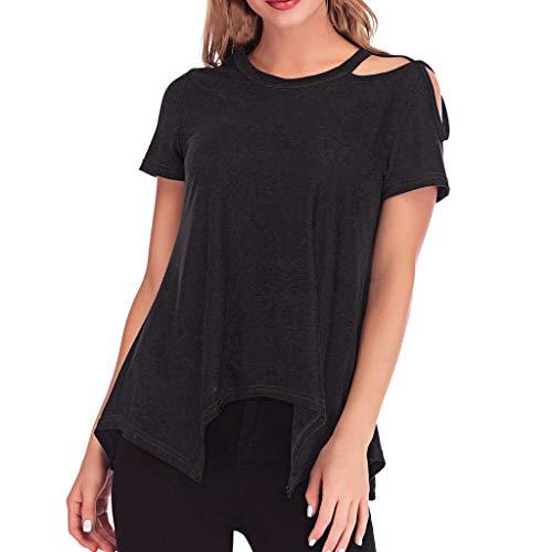 iHENGH Damen Top Bluse Bequem Lässig Mode T-Shirt Frühling Sommer Blusen Frauen Lose runde Off Schulter Saum der Frauen Unregelmäßige Oberteile Lässige Kurzarm T-Shirts(Schwarz, M)