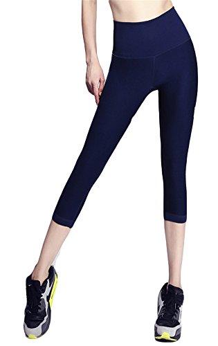 GoodNight Calzamaglia sottile di abbigliamento sportivo di Yoga Capris di alta vita di colore puro Blu scuro 1