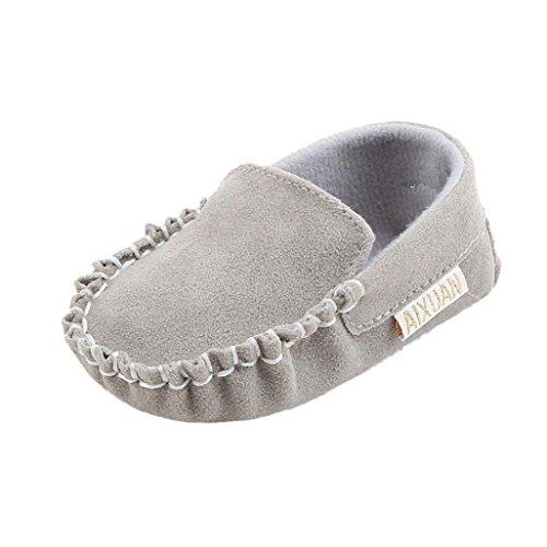 Saingace Krabbelschuhe Baby-Mädchen-doppelte Velour weiche alleinige Schuh-weiche Schuhe flache Schuhe Grau