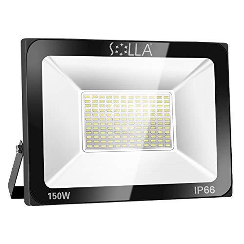 Metall-halogen-scheinwerfer (SOLLA 150W LED Flutlicht Outdoor-Sicherheitsleuchte, 550W Äquiv, 3000K Warmweiß, 12000LM, Wasserdicht IP66, Außenwandleuchte, 24 Monate Garantie)