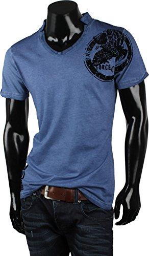 TAZZIO Top Herren T-Shirt Polo-Shirt Hemd Slim Fit Kurzarm Japan Style Blau