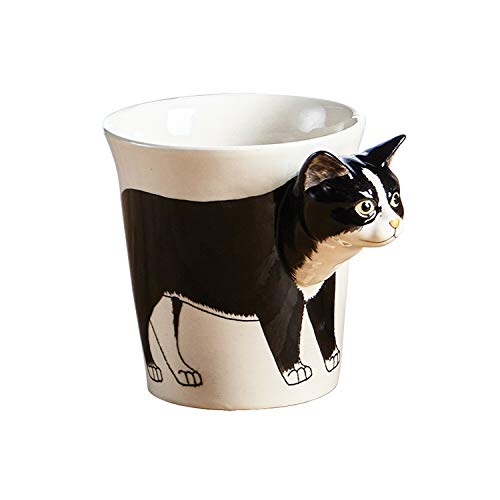 la chat noir et blanche -la tasse, faite à la main--ceramique,design unique