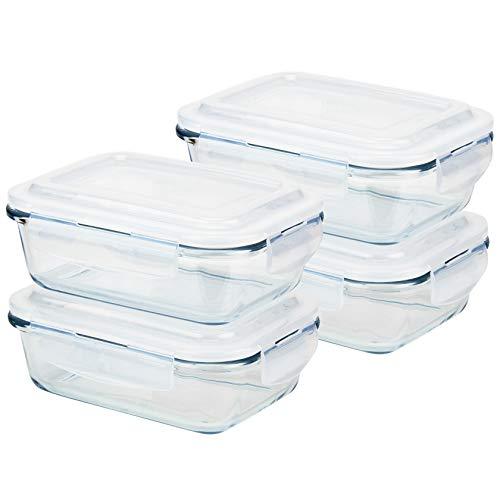 Grizzly Frischhaltedosen Glas 4 Stück Set rechteckig 640 ml Vorratsdosen mit Deckel