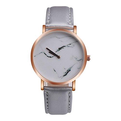 Souarts Damen Armbanduhr Einfach Stil Chic Marmor Muster Analoge Quary Uhr mit Batterie Grau