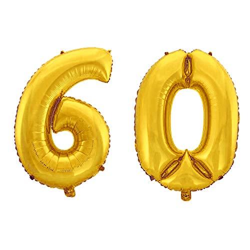 WeAreAwesome Folien-Ballon Luft-Ballon Zahl 60 Gold 60CM XL Aufpusten Geburtstag Jubiläum Jahrestag Feier