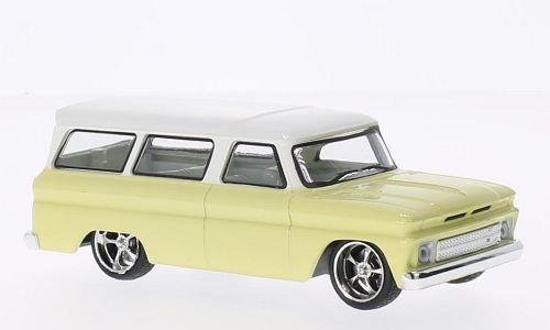 Chevrolet Suburban Tuning, hellgelb/weiss, 1966, Modellauto, Fertigmodell, Greenlight 1:43