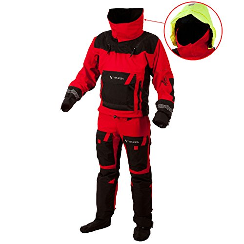 Typhoon Hypercurve 3 B/Z Drysuit with Socks Black/Red 100143 Inc Fleece Sizes - Large