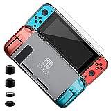ELZO Funda para Nintendo Switch, Transparente TPU Premium Tecnología de Absorción de Golpes Carcasa Protector para Nintendo Switch Console y Joy-Cons Accesorios (TPU, Gris)