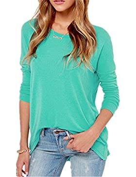 Donne Elegante Fit Autunno T Shirt Camicetta Camicia A Rotondo Collo Bluse Tops
