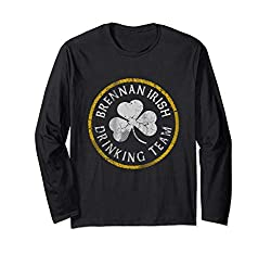 Brennan Irish Drinking Team St Patricks Day Family Surname Langarmshirt