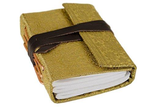 Sari Notizbuch handgefertigt Handgebunden Gold Mini, blanko Seiten (13cm x 9cm x 3cm) (Sari Golden)