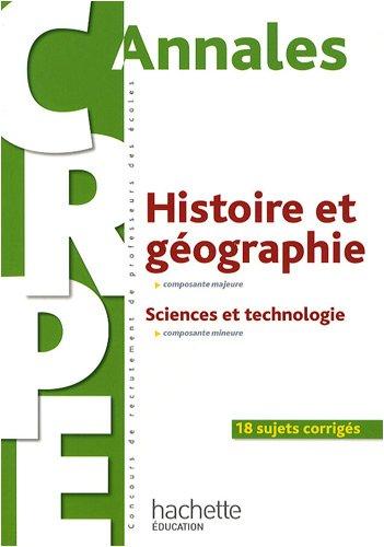 Annales Histoire et géographie composante majeure : Sciences et technologie composante mineure