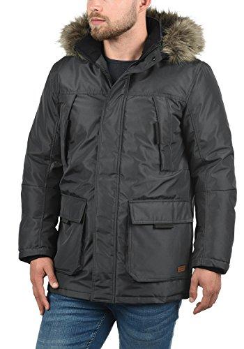 PRODUKT Parkin Herren Parka lange Winterjacke mit Kapuze und abnehmbarem Fellkragen aus hochwertigem Material Asphalt