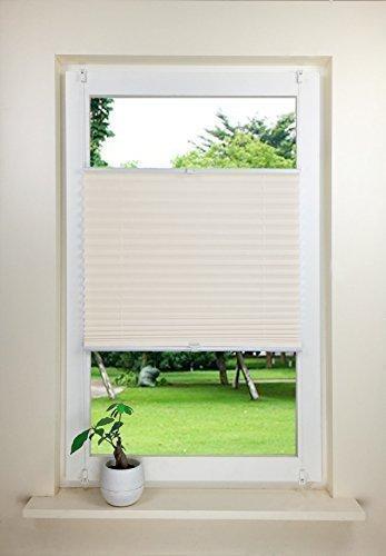Beige Fenster (Rapid Teck® Klemmfix Thermo Plissee 90cm x 130cm beige Blickdicht Faltrollo Jalousie Rollo ohne Bohren Klemmrollo Fertigplissee)