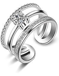 Femme Bague Réglable Simplicité Argent 925 des Lignes à trois anneaux Anneau de la Queue