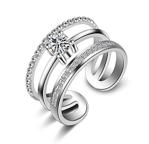 3-schicht-hochzeits-ring (Ringe Damen Verstellbare 925 Silber + Zirkon Einfache Drei Schicht Diamant-Ring Eröffnung)
