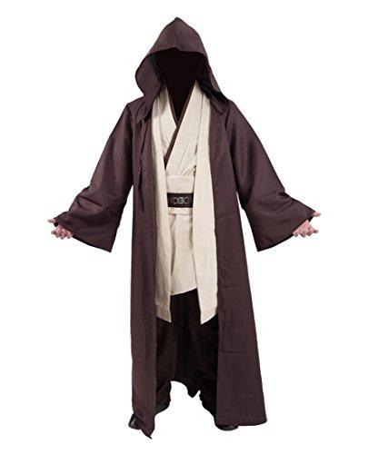 Yeweiwenhua Film Robe Cosplay Voller Satz Braun Robe Mantel weißen Tunika Hosen Kostüm Cosplay Outfit (L, Braun) (Luke Skywalker Kostüm Bilder)